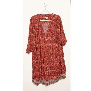 Lucky Brand Boho Paisley Long Sleeve Dress 3X